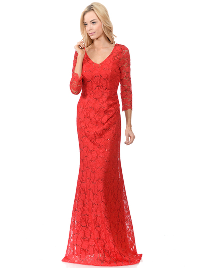 70-5162 Three-Quarter Sleeve Mother of the Bride Evening Dress - Red, Front View Medium
