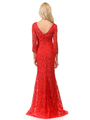 70-5162 Three-Quarter Sleeve Mother of the Bride Evening Dress - Red, Alt View Thumbnail