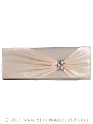 JX7004 Beige Satin Evening Bag, Beige