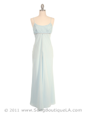 7013 Baby Blue Empire Waist Evening Dress, Baby Blue