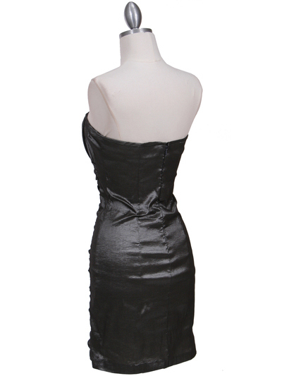 7016 Charcoal Taffeta Cocktail Dress - Charcoal, Back View Medium