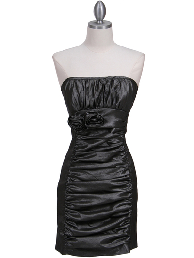 7016 Charcoal Taffeta Cocktail Dress - Charcoal, Front View Medium