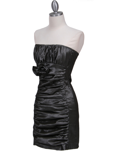 7016 Charcoal Taffeta Cocktail Dress - Charcoal, Alt View Medium