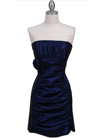 7016 Royal Blue Taffeta Homecoming Dress - Royal Blue, Front View Medium