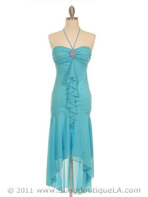 7020 Turquoise Halter Cocktail Dress with Rhinestone Brooch, Turquoise