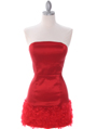7021 Red Floral Party Dress - Red, Front View Thumbnail