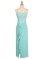 7033 Aqua Glitter Evening Dress - Aqua, Front View Thumbnail