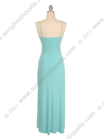 7033 Aqua Glitter Evening Dress - Aqua, Back View Medium