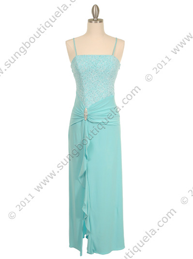 7033 Aqua Glitter Evening Dress - Aqua, Front View Medium