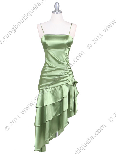7051 Olive Cocktail Dress - Olive, Front View Medium