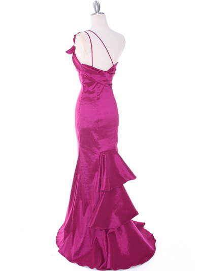 7063 Raspberry One Shoulder Taffeta Evening Dress with Bow - Raspberry, Back View Medium