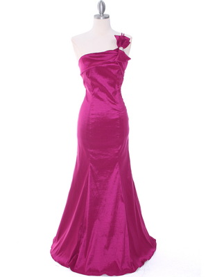 7063 Raspberry One Shoulder Taffeta Evening Dress with Bow, Raspberry