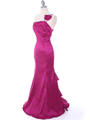 7063 Raspberry One Shoulder Taffeta Evening Dress with Bow - Raspberry, Alt View Thumbnail
