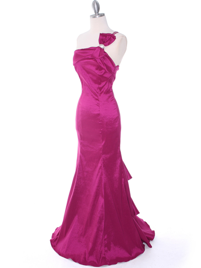 7063 Raspberry One Shoulder Taffeta Evening Dress with Bow - Raspberry, Alt View Medium