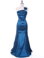 Teal One Shoulder Taffeta Evening Dress with Bow - Front Image