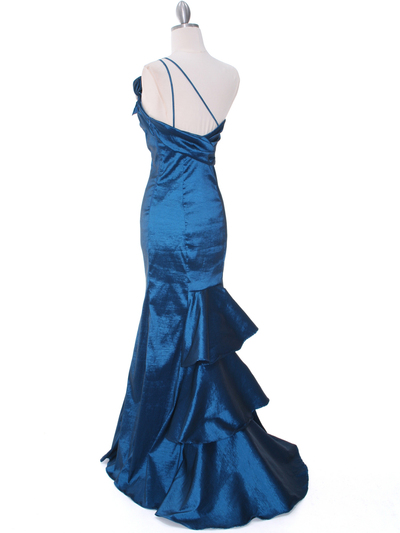 7063 Teal One Shoulder Taffeta Evening Dress with Bow - Teal, Back View Medium
