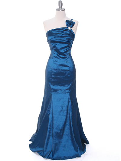 7063 Teal One Shoulder Taffeta Evening Dress with Bow - Teal, Front View Medium