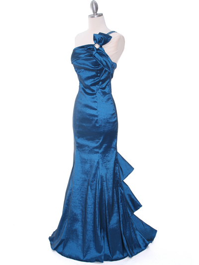 7063 Teal One Shoulder Taffeta Evening Dress with Bow - Teal, Alt View Medium