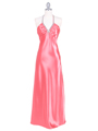7072 Coral Satin Evening Dress with Rhinestone Strap