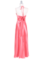 7072 Coral Satin Evening Dress with Rhinestone Strap - Coral, Back View Thumbnail