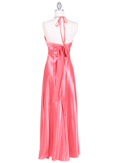 7072 Coral Satin Evening Dress with Rhinestone Strap - Coral, Back View Medium