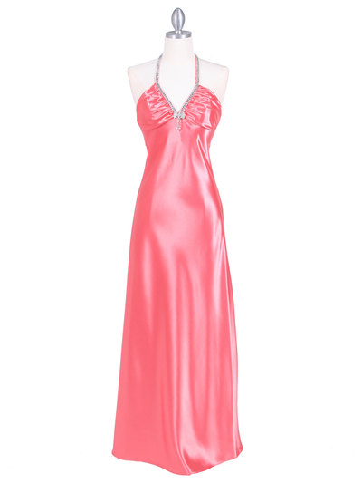 7072 Coral Satin Evening Dress with Rhinestone Strap - Coral, Front View Medium
