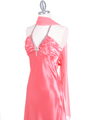 7072 Coral Satin Evening Dress with Rhinestone Strap - Coral, Alt View Thumbnail