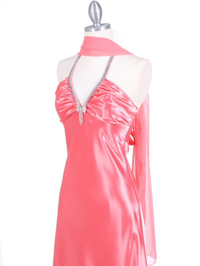 7072 Coral Satin Evening Dress with Rhinestone Strap - Coral, Alt View Medium