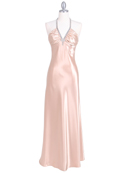 Gold Satin Evening Dress with Rhinestone Strap