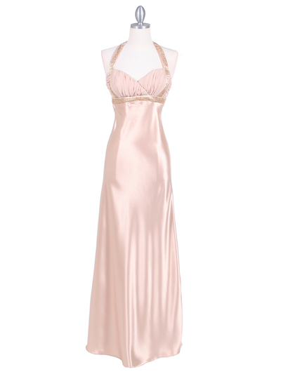 7085 Gold Pleated Top Evening Dress - Gold, Front View Medium
