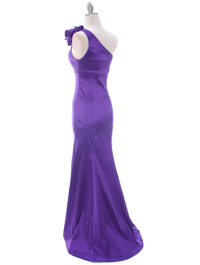 7098 Purple Taffeta Evening Dress - Purple, Back View Medium