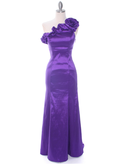 7098 Purple Taffeta Evening Dress - Purple, Front View Medium