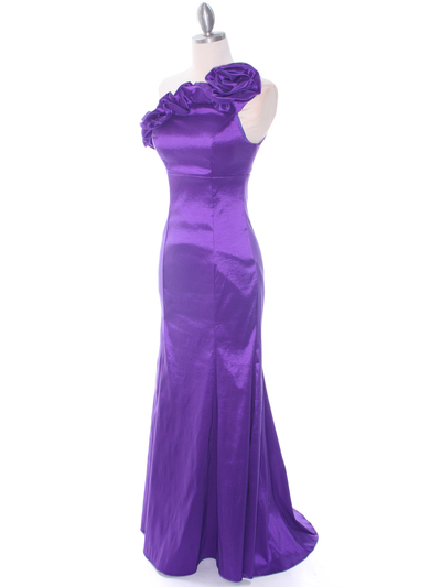 7098 Purple Taffeta Evening Dress - Purple, Alt View Medium
