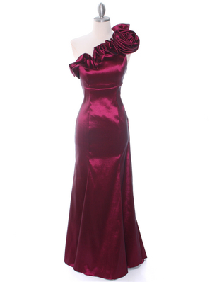 7098 Wine Taffeta Evening Dress, Wine