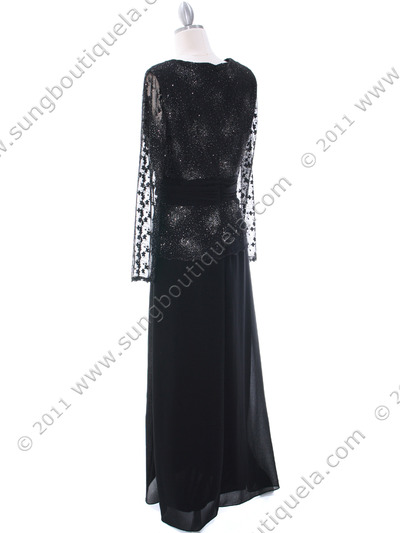 709 Black Long Sleeve Mother of The Bride Dress - Black, Back View Medium