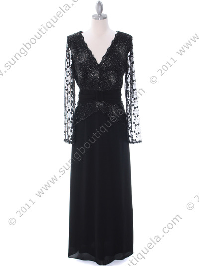 709 Black Long Sleeve Mother of The Bride Dress - Black, Front View Medium