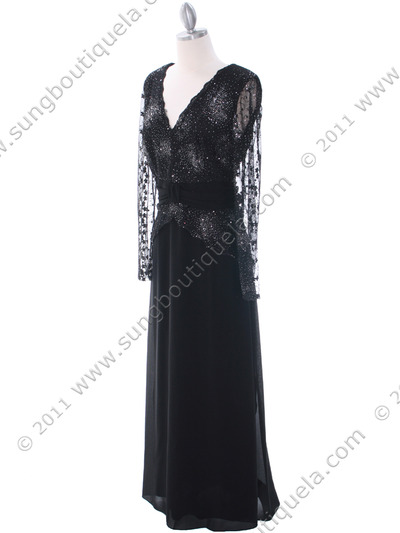 709 Black Long Sleeve Mother of The Bride Dress - Black, Alt View Medium