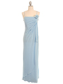 070 Baby Blue Chiffon Wrap Dress - Baby Blue, Front View Thumbnail