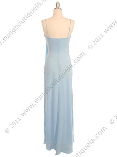 070 Baby Blue Chiffon Wrap Dress - Baby Blue, Back View Medium