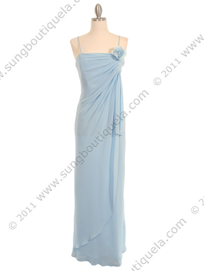 070 Baby Blue Chiffon Wrap Dress - Baby Blue, Front View Medium