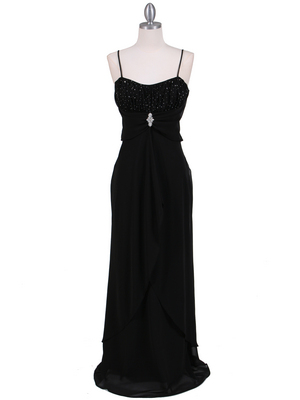 7107 Black Chiffon Evening Dress, Black