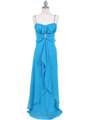 7107 Turquoise Chiffon Evening Dress