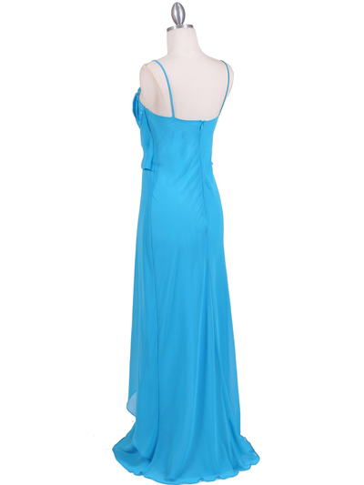 7107 Turquoise Chiffon Evening Dress - Turquoise, Back View Medium