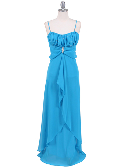 7107 Turquoise Chiffon Evening Dress - Turquoise, Front View Medium