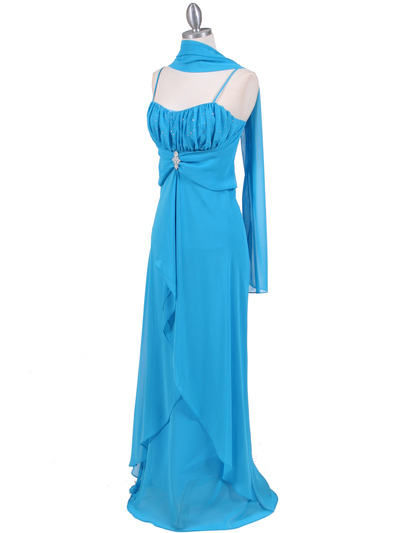 7107 Turquoise Chiffon Evening Dress - Turquoise, Alt View Medium