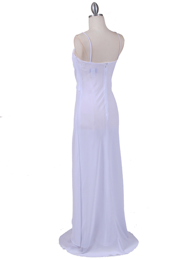 7107 White Chiffon Evening Dress - White, Back View Medium