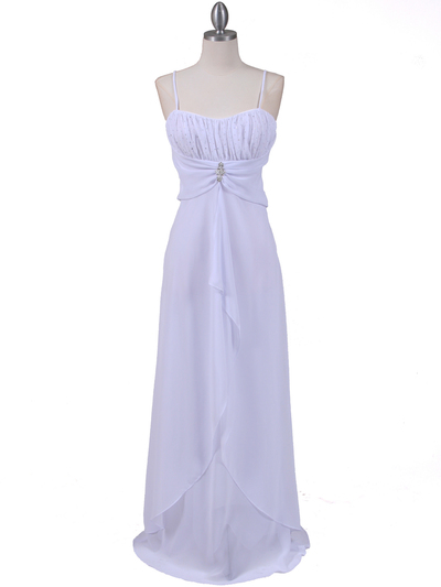 7107 White Chiffon Evening Dress - White, Front View Medium