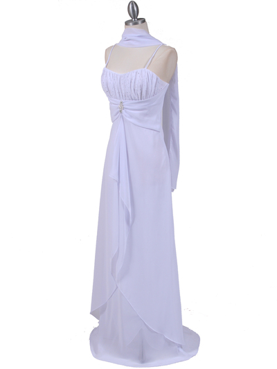 7107 White Chiffon Evening Dress - White, Alt View Medium