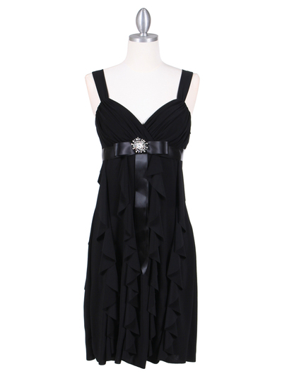7113 Black Cocktail Dress - Black, Front View Medium