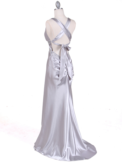 7120 Silver Satin Evening Dress - Silver, Back View Medium